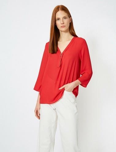 Koton Fermuar Detaylı Bluz Kırmızı